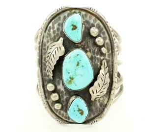 Oversized Vintage Southwestern Sterling Silver Turquoise Cuff Bracelet - New Old Stock Handmade Silver Jewelry