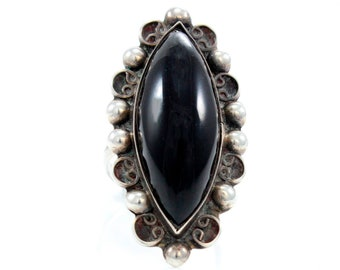 Vintage Mexican Silver Black Onyx Ring - Early Sterling Mexico Marquise Cabochon Ring Size 7.5 - Signed Mexico Pre- Eagle