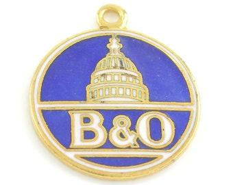 B & O Railroad Charm - Vintage Gold Tone Blue Enamel Souvenir Travel Pendant - Baltimore and Ohio RR -  circa 1960 - Vintage Jewelry