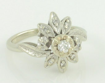 Diamond Flower 14K White Gold Ring - .20 CT TW Natural Diamond Floral Cluster - Size 4 - Mid Century Circa 1960s - Vintage Fine Jewelry