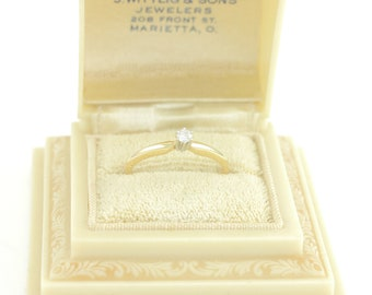 Diamond  .09 CT 14K Gold Engagement Ring -New Old Stock - Solitaire Promise Ring - SI2 I-J - Size 6.25 c1990 -  Retro Vintage Fine Jewelry