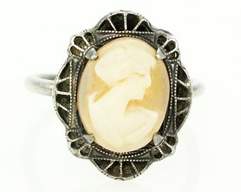Edwardian Filigree Cameo Ring - Sterling Silver Filigree Hand Carved Shell Lady Cameo - Vintage Cameo Jewelry-  Estate Jewelry