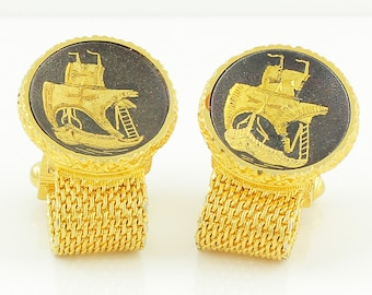 Vintage Swank Arts of the World 24K Damascene Cuff Links - Spanish Galleon Cufflinks - Vintage Men's Jewelry