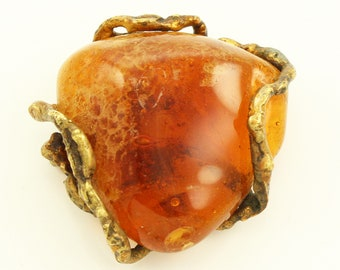 Mid Century Modern Brutalist Brass Amber Glass Brooch - Vintage MCM Estate Jewelry