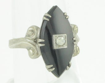 Silver Onyx Ring - Vintage Sterling Marquise Black Onyx Rhinestone Ladies Ring - Clark and Coombs - Circa 1950 - Size 5.75 - Vintage Jewelry