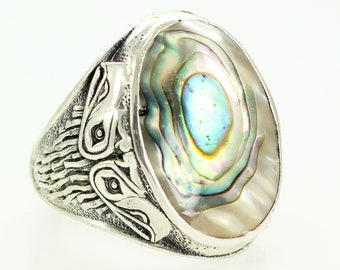 Silver Abalone Mens Ring Deadstock - Vintage Bell Trading Sea Hawk Paua Shell Mans Ring Size 11.75 - New Old Stock Trading Post Jewelry
