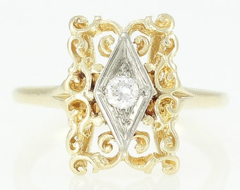 Vintage Gold Filigree Diamond Ring - Edwardian Style 14K Yellow and White Gold .10 CT Natural Diamond Ring - circa 1960 - Vintage Jewelry