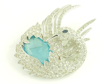 Nolan Miller Glamour Collection Blue Swan Pin Brooch - Rhinestone Covered Silver Tone with Aqua Glass Stone - Signed Vintage Jewelry
