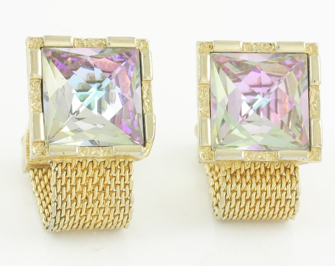 Featured listing image: Sixties Mod Flashy Rhinestone Wrap Around Cuff Links - Swank Gold Tone Mesh Fancy Cut Pink Blue Irridescent Square Crystal - Vintage Jewelry