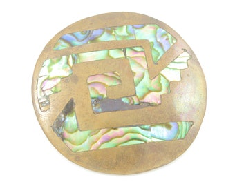 Mexican Mid Century Modern Brooch Pin, Mexico Copper Abalone Shell Glyph Pendant, 15.8 grams circa 1950, Vintage Jewelry, Stocking Stuffer