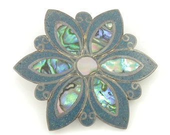 Mexican Mid Century Modern Brooch Pin, Mexico 925 Sterling Silver Abalone Mother of Pearl Flower Pendant, Vintage Jewelry, Stocking Stuffer