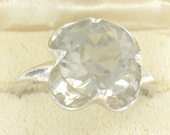 Sterling Silver Light Gray Smoky Quartz Ring - Clark and Coombs - 3.9 grams Circa 1950 Size 7.75 - Vintage Jewelry - Stocking Stuffer