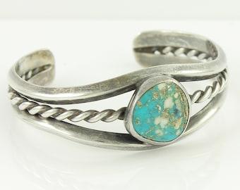 Twisted Silver Turquoise Southwestern Bracelet, Vintage Sterling Cuff, 6 inch 16.8 gram, Handmade Cuff, Vintage Jewelry, Stocking Stuffer