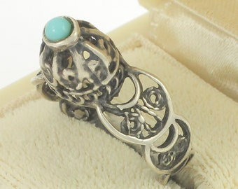 Vintage Silver Filigree Turquoise Ring, High Profile Dome, Crescent Moon, 925 Sterling 2.8 gram Size 7.5, Vintage Jewelry, Stocking Stuffer