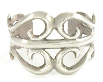 Vintage Sand Cast Sterling Bracelet, Southwestern Silver Cuff, 925 Statement Bracelet, 69 gram circa 1970, Vintage Jewelry, Stocking Stuffer