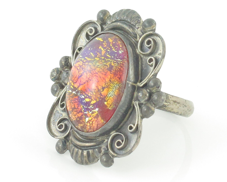 vintage foil opal Mexican sterling brooch