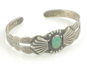Vintage Turquoise Silver Bracelet, Harvey Era Cuff, Coin Silver Native American Bracelet, IH Maisels, Vintage Jewelry, Stocking Stuffer