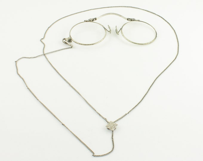 Featured listing image: Antique White Gold Filled Pince Nez and Chain - Antique 12K GF Folding Glasses on Adjustable Y Lorgnette Chain with Slide - Vintage Jewelry