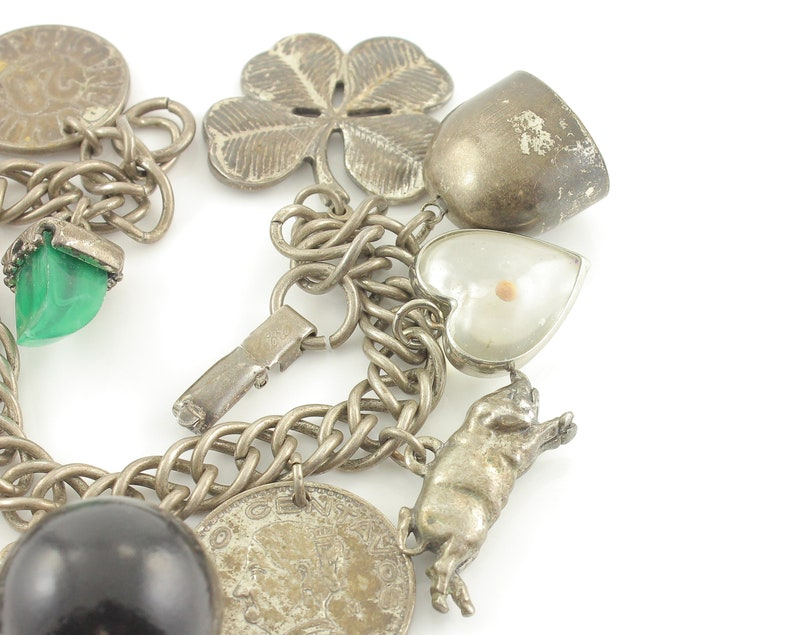 Chunky Coro Lucky Charm Bracelet Vintage Jewelry 8 inch 83.3 gr Circa 1955 Heavy Chain 13 Talismans Four Leaf Clover Mustard Seed More
