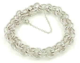 "Vintage Sterling Fancy Link Charm Bracelet, Forstner Chunky 7.5"" Silver Bracelet Box Clasp, MCM Modern, Vintage Jewelry, Stocking Stuffer"