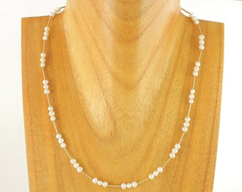 """10K Freshwater Cultured Pearl 17"""" Necklace, 4mm Pearls 10K Yellow Gold Beads, 6.2 grams circa 1990, Vintage Jewelry, Stocking Stuffer"""
