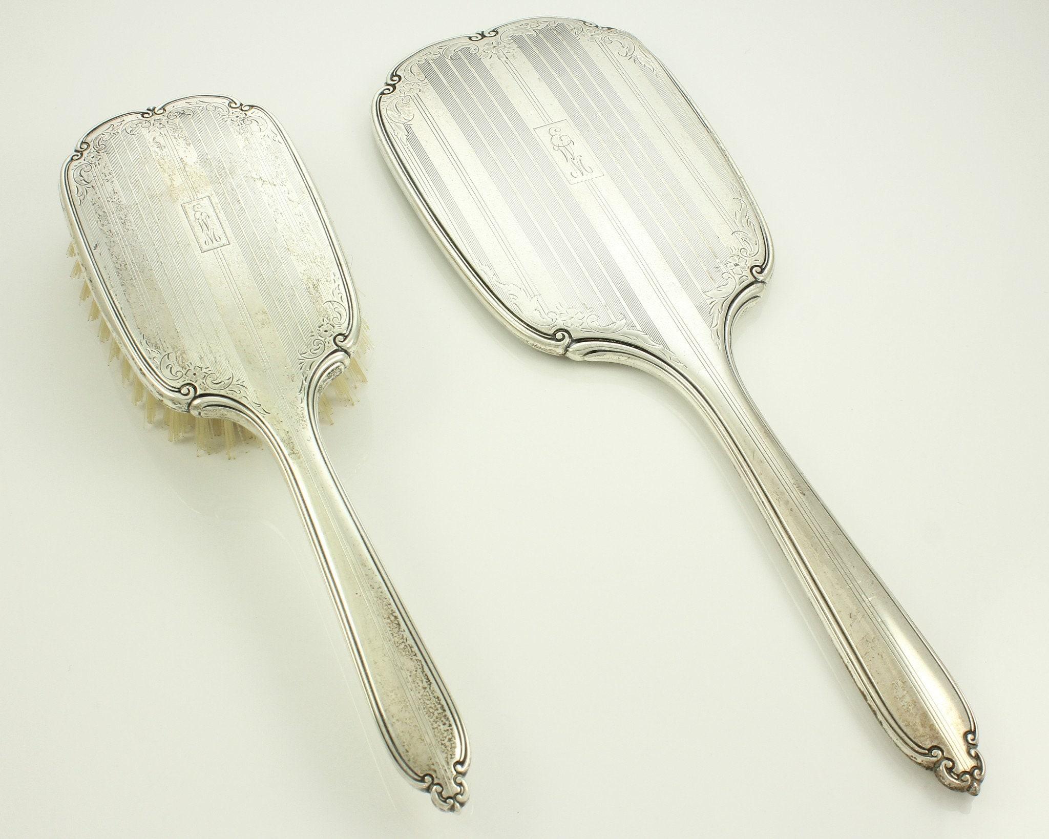 Art Deco International Sterling Engraved Hand Mirror Brush Set