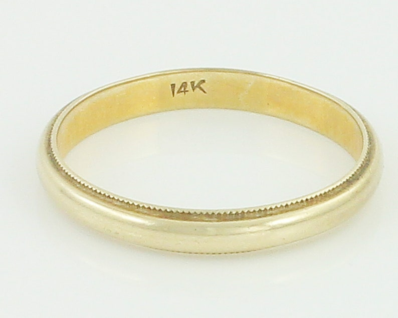 585 Yellow Gold Dome Band Ring Size 5 Vintage 14K Milgrain Edge Wedding Band Vintage Fine Jewelry