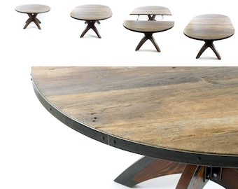 Expandable Round Dining Table / Reclaimed Dining Round Table/ Farmhouse  Industrial