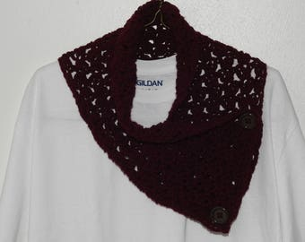 Maroon Cowl Scarf with Buttons