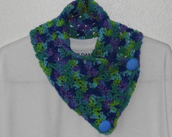 Multi-color Cowl Scarf with Buttons