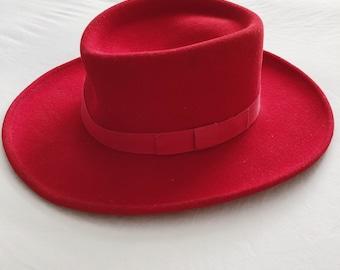 c5bbf09a Vtg Red Scala Western Hat