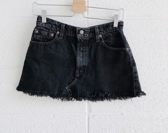 622436ff59 Vtg Levi's Black Denim Mini Skirt