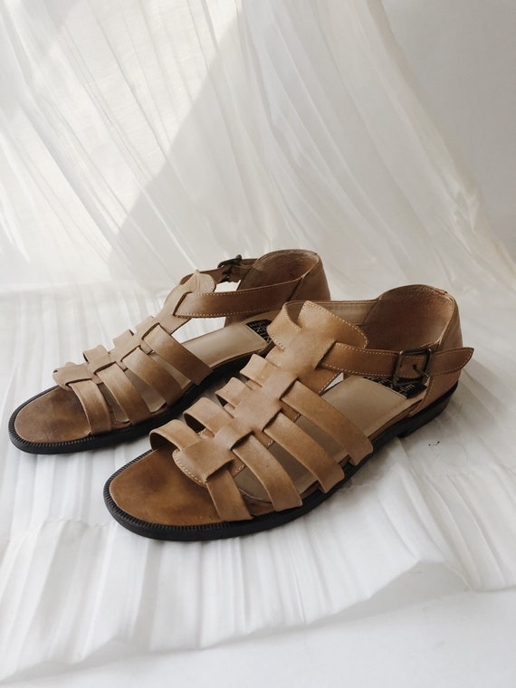 Vtg Tan Leather Strappy Sandals - image 1