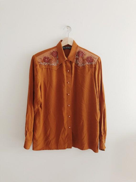 Vintage Crest Brand Rusty Orange Colored Shirt.