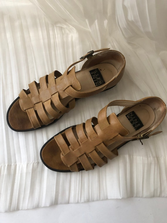 Vtg Tan Leather Strappy Sandals - image 2