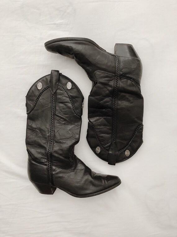 Laredo Black Leather Western Cowboy Boots w/ Conch