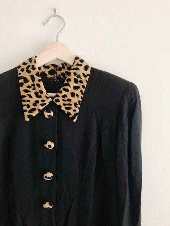 80's Leopard Trim Skirt Suit/Dress