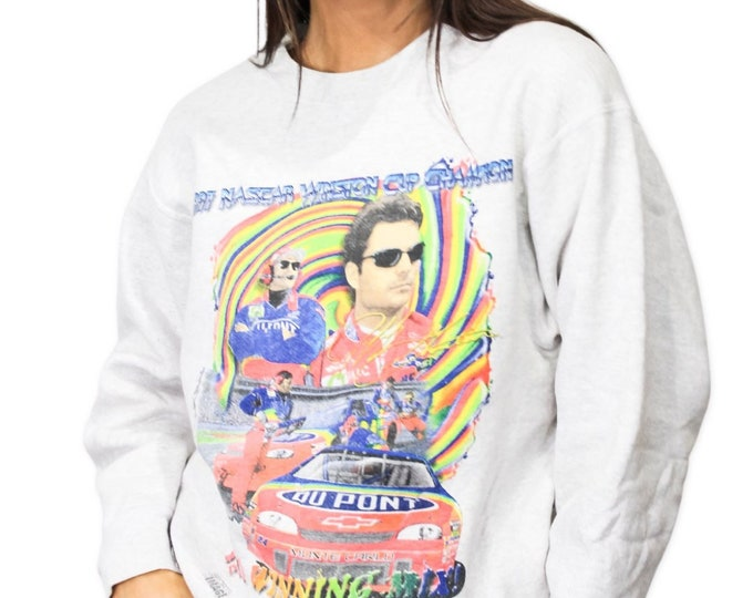 Vintage Jeff Gordon NASCAR All Over Print Sweatshirt - M