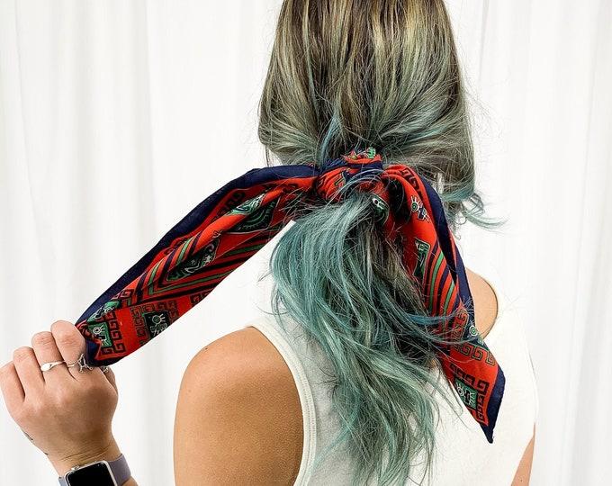 Vintage Scarf |  Hair Scarf | Neckerchief | Braid Scarf | Scarf Top | Face Mask