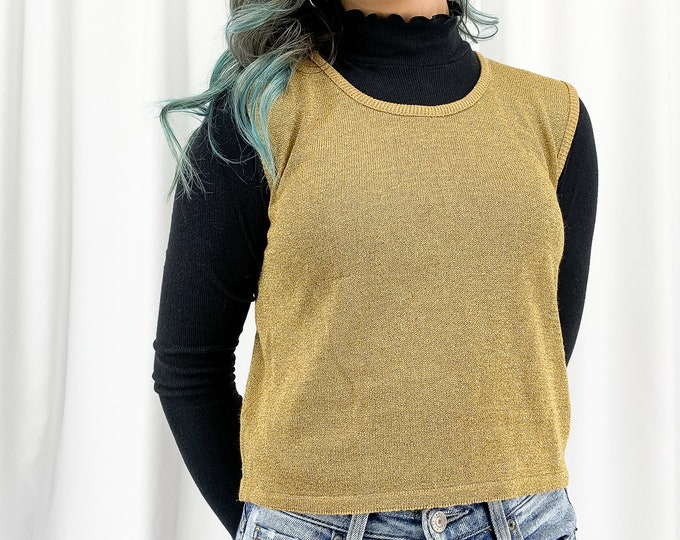 Vintage Gold Sweater Tank - M