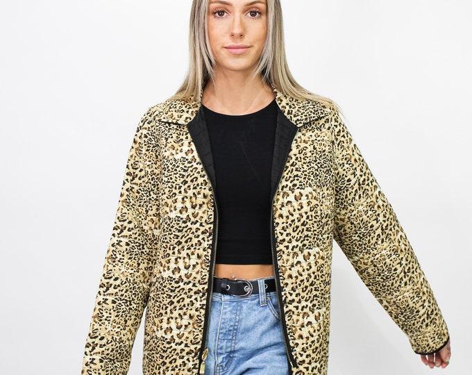 Vintage Quilted Leopard Jacket - M