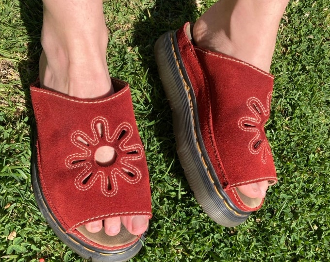 Vintage 90s Dr. Marten Red Suede Flower Cut Platform Sandal - 7
