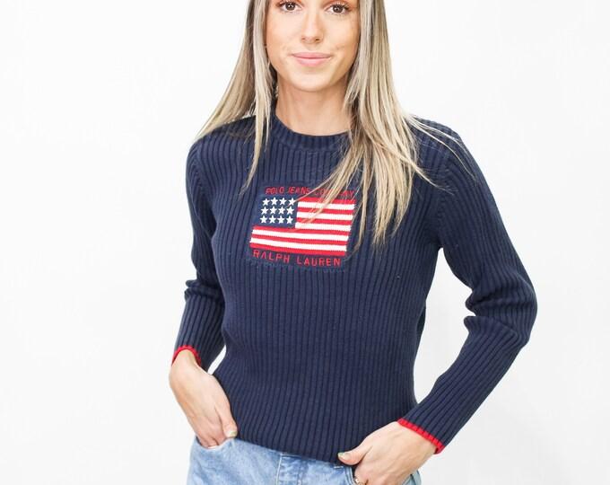 Vintage Y2K Ralph Lauren American Flag Sweater - L