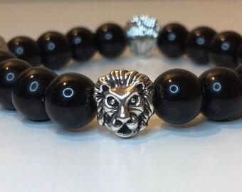 10mm Round Black Stretch Bracelet with Silver Lion Head