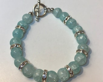 Aqua beaded bracelet with toggle clasp
