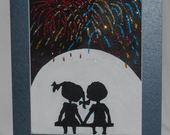 Fireworks and young love acrylic art/ mixed media art NEW 8 x 10