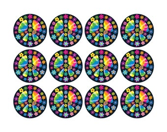 HIPPY PEACE Cupcake Ricepaper Toppers