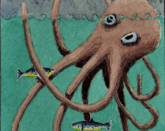 ACEO. Artist trading card. Original watercolour. 'Octopus having his feet tickled.'