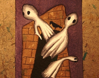 ACEO. Artist trading card. 'Poe's Tomb.' Original watercolour.
