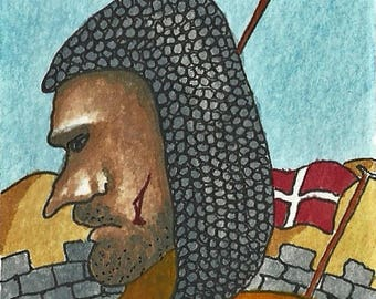 ACEO. Artist trading card. Original watercolour. 'Crusader Takes a Break.'